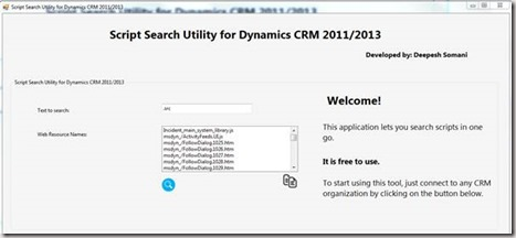 Script Search Utility for Dynamics CRM 2011/2013