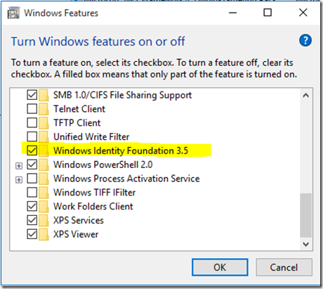 Quick Tip}Enabling Windows Identity foundation on Windows 10