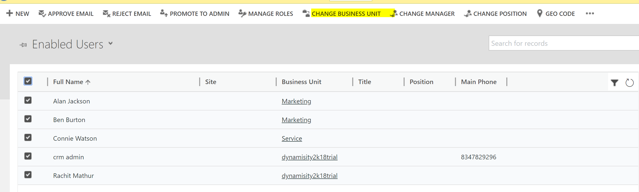 Zero code Solution} Bulk assignment of Business Unit to users on